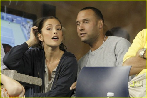 NY Yankees star Derek Jeter and Minka Kelly enjoying each other's company at the US Open in New York