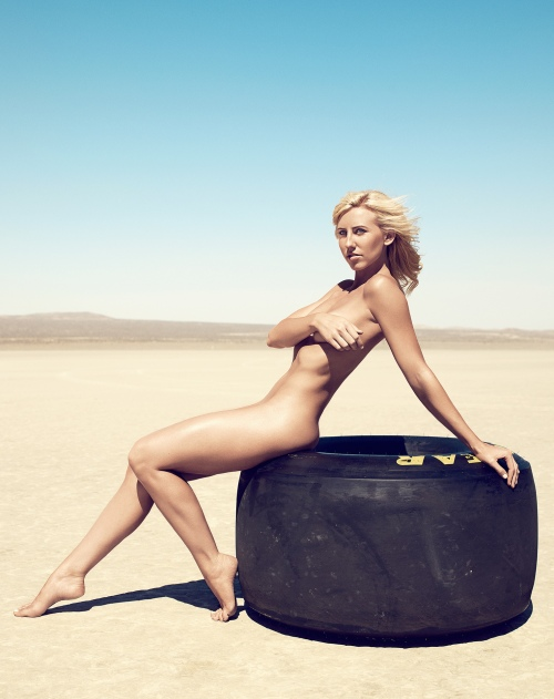 Courtney Force Naked on Tire